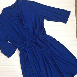 APT 9 cobalt blue stretch faux wrap dress
